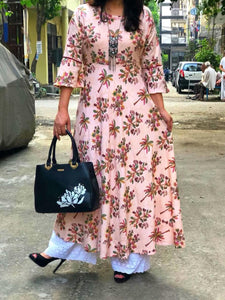 Peach Gota Pati Work Latest Kurta Palazzo Sets Online Shop