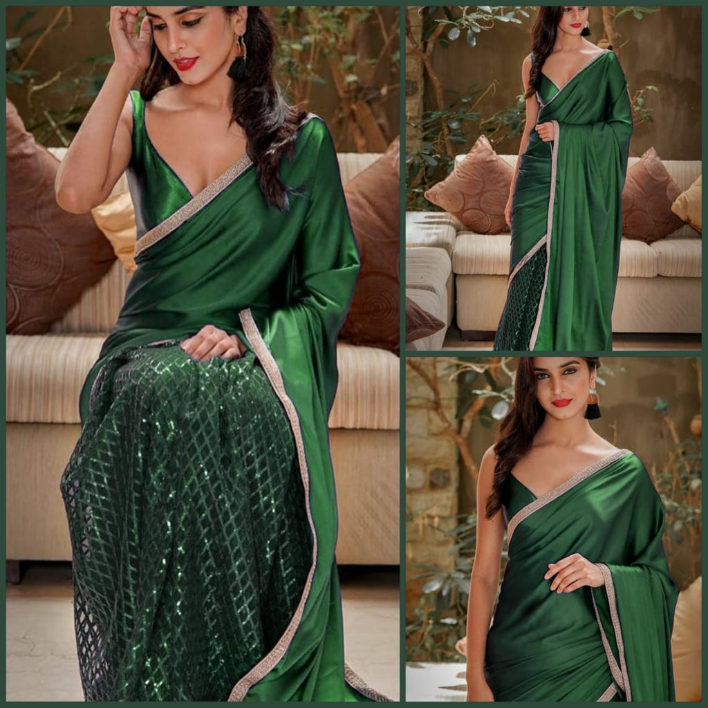 Beautiful Green color Net Saree with Pallu in Silk and Satin Blouse designer sarees with price