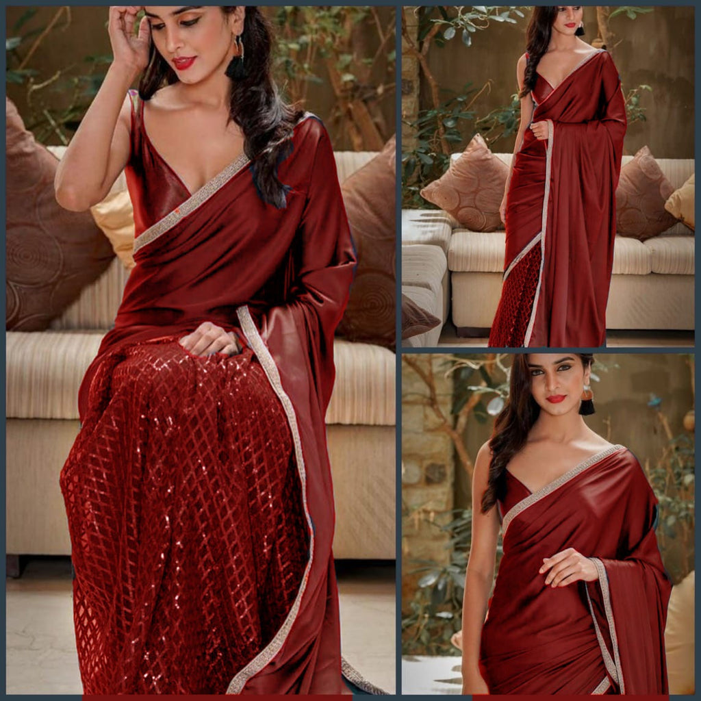 Beautiful Maroon color Net Saree with Pallu in Silk and Satin Blouse designer sarees with price