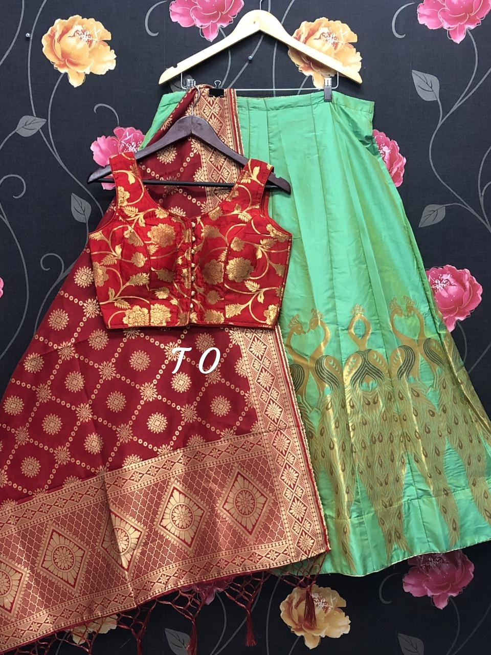 Green Banarasi Brocade Silk Lehenga Yellow with red designer Choli