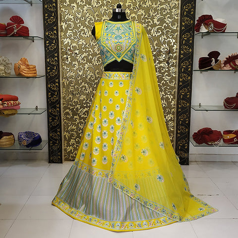 Shilpa Shetty Yellow Taffeta Digital Print Bollywood Lehenga Replicas Online