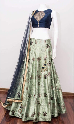 Light Sea Green Silk Latest Lehenga Online Shopping India