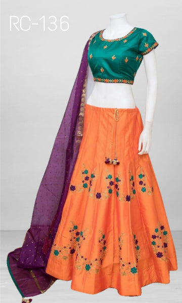 Orange Taffeta Silk Embroidered Ghagra Choli And Lehenga