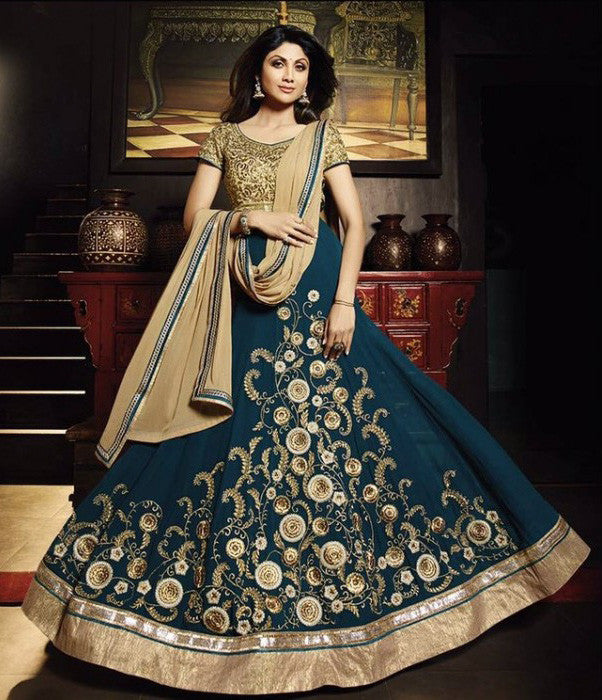 Shilpa Shetty Teal Green Georgette Anarkali Dresses