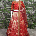 Red Silk Digital Print Work Latest Indian Party Wear Lehenga Choli