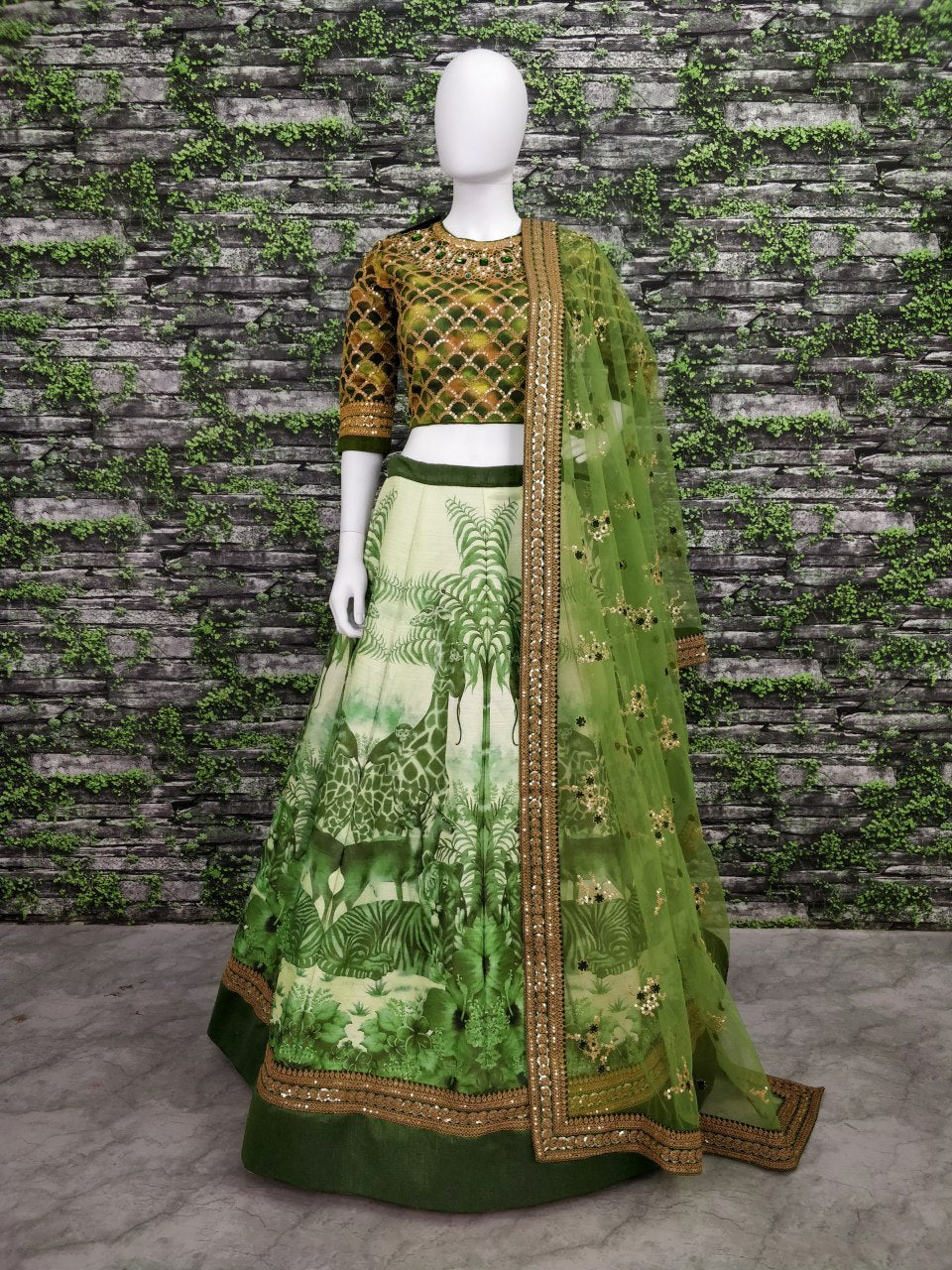 Green Silk Digital Print Work Latest  Wedding Lehenga Designs