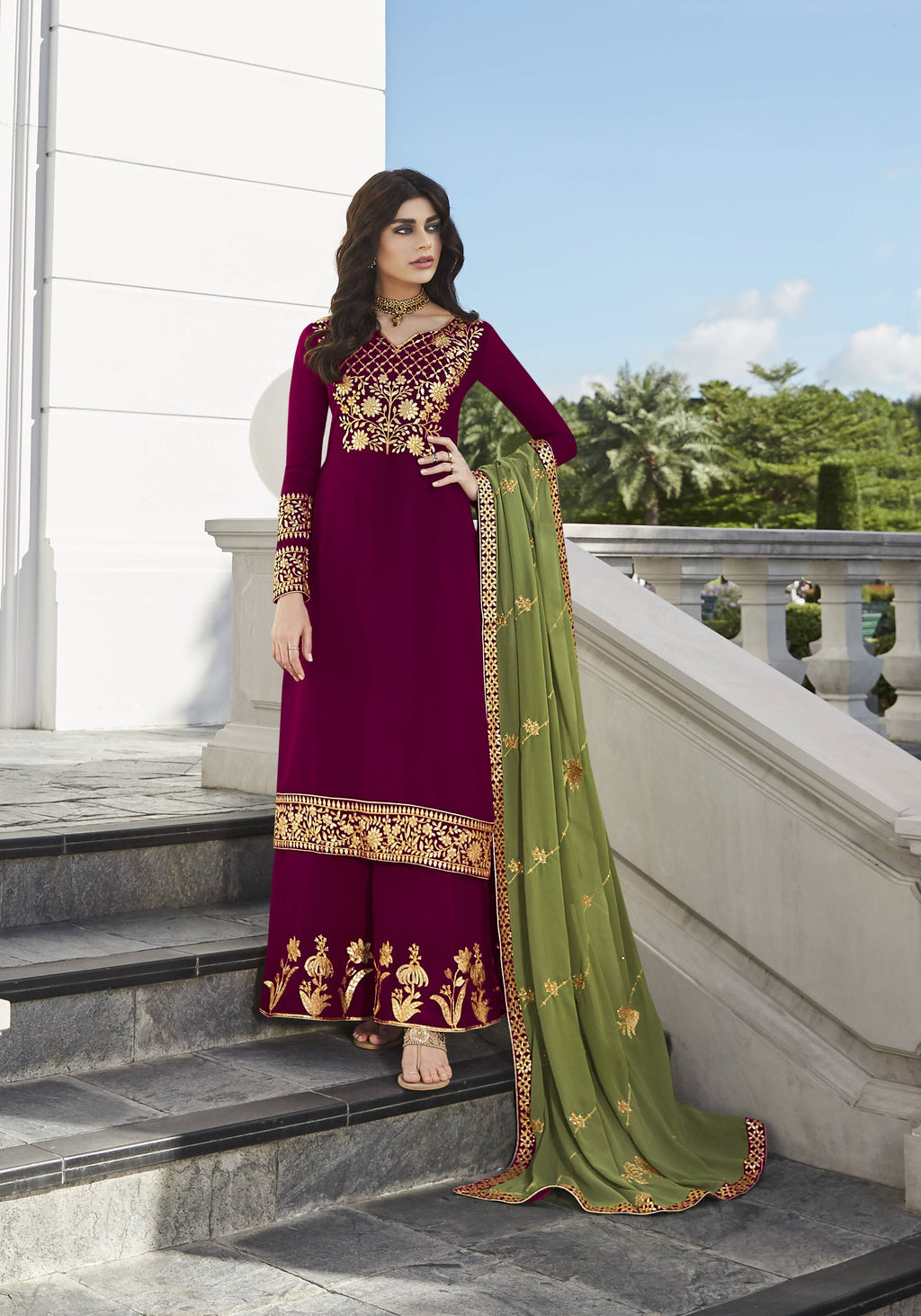 Magenta Georgette Latest Palazzo Pant Suits India Online