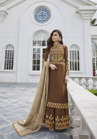 Brown Embroidered Palazzo Set Indian Kameez Salwar Designs