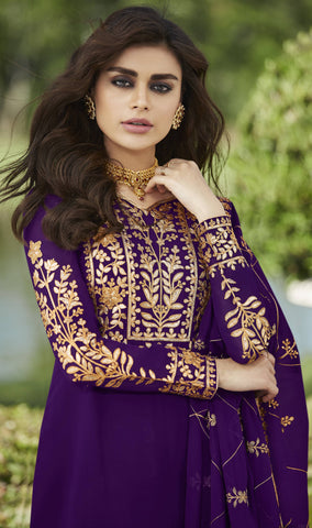 Purple Embroidered Palazzo Suit Indian Kameez Salwar Designs