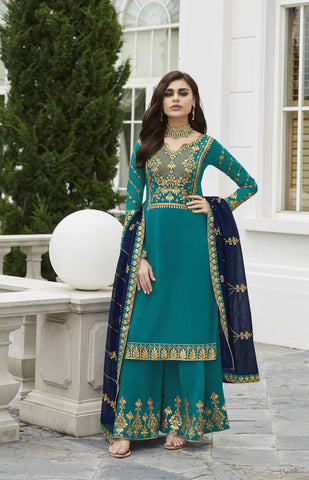 Sea Green Embroidered Palazzo Salwar Kurta Online Shopping India