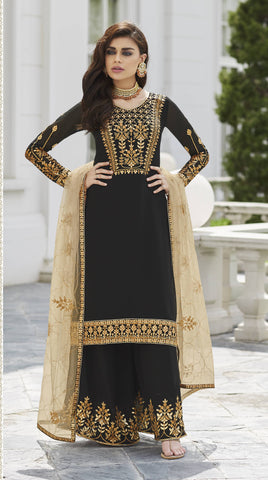 Black Embroidered Palazzo Set Indian Salwar-Kameez.Com