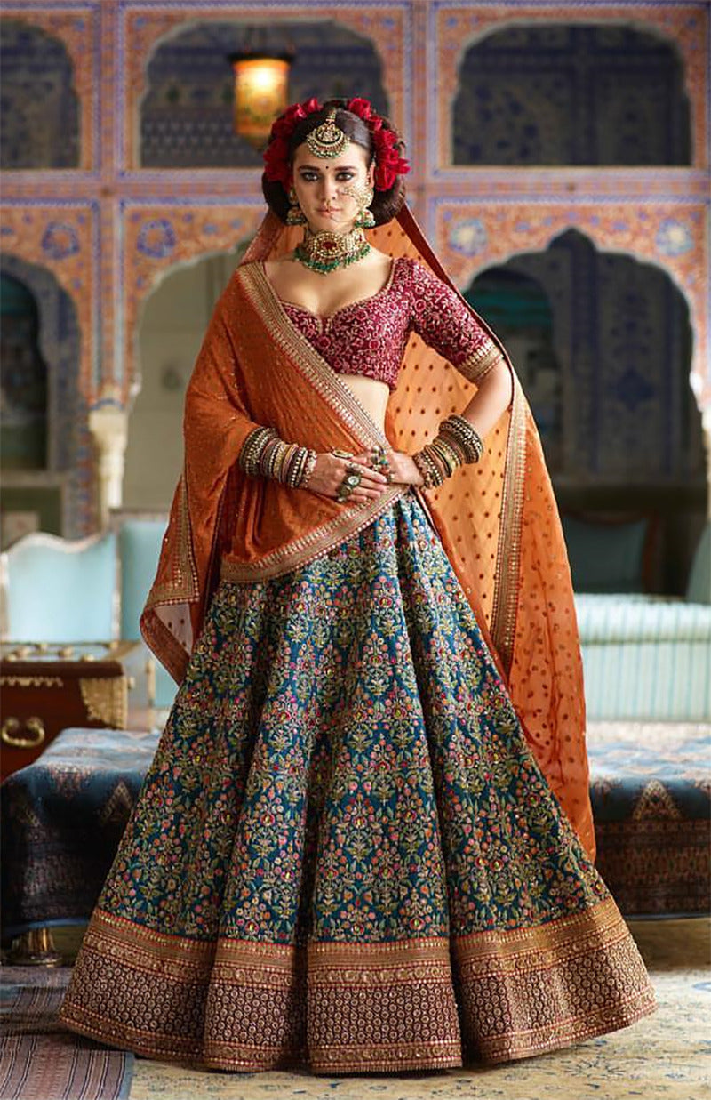 Blue Mulberry Silk Heavy Embroidered Wedding Dresses Lehenga Choli Online