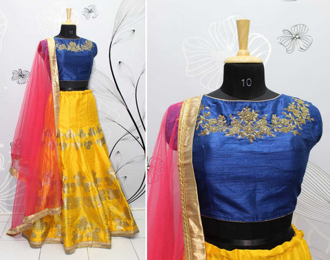 Mustard Yellow Silk Latest Lehenga Choli Online Shopping India
