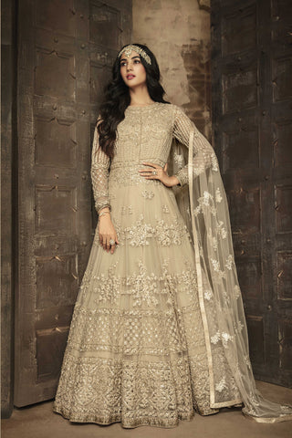 Beautiful Beige Net Embroidered Party Wear Anarkali Salwar Dresses