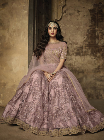Charming Dusty Rose Net Embroidered  Indian Party Wear Anarkali Suits