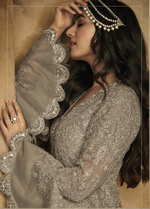 Frill Sleeve Grey Net Embroidered Party Wear Anarkali Suits  Online