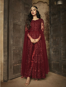 Embroidered Maroon Net Front Slit Indian Party Wear Suits And Salwar