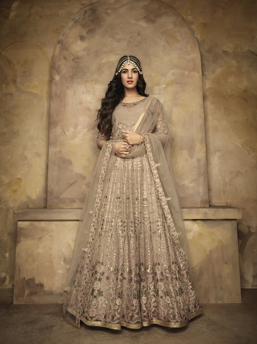 Embroidered Beige Net Gown Style Party Wear Long Salwar Kameez