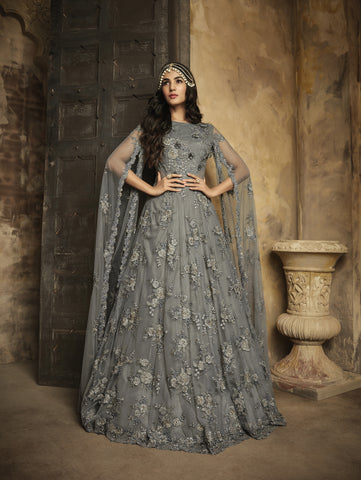 Embroidered Net Grey Gown Style Party Wear Anarkali  Salwar Kameez