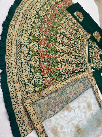 Dark Green Silk Embroidered Wedding Online Chaniya Choli With Price