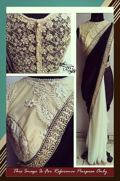 Elegant Black & Cream Bollywood Sarees Online ,Indian Dresses - 1