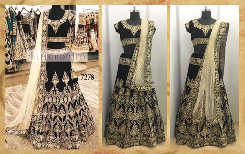 Pure Velvet Black Indian Clothes Lehenga ,Indian Dresses - 1