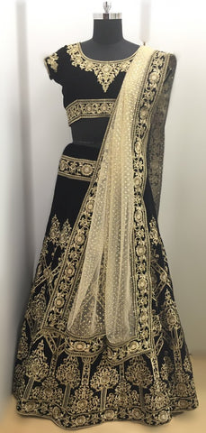 Pure Velvet Black Indian Clothes Lehenga ,Indian Dresses - 2