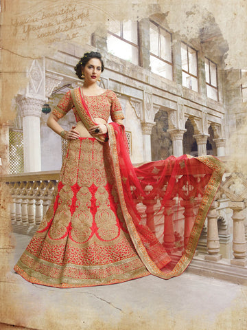 Red Georgette Bridal Indian Lenghas Designer Choli ,Indian Dresses - 1