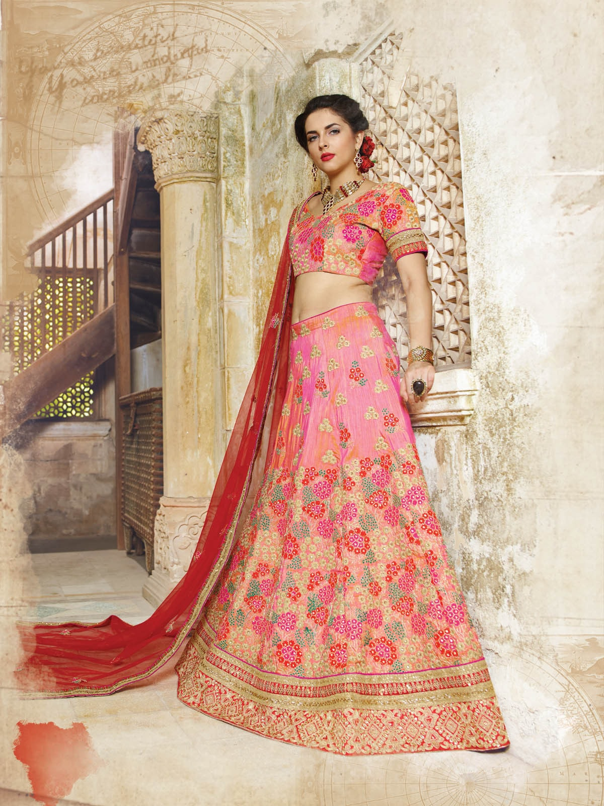 Pink Georgette Butta Work Bridal Designer Lehengas Online Buy ,Indian Dresses - 2