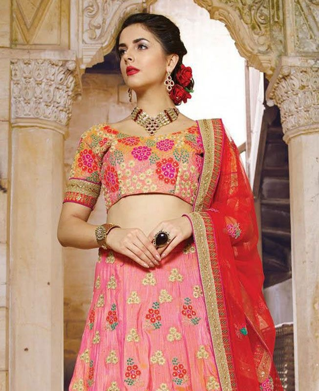 Pink Georgette Butta Work Bridal Designer Lehengas Online Buy ,Indian Dresses - 3