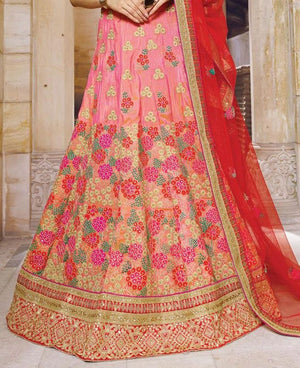 Pink Georgette Butta Work Bridal Designer Lehengas Online Buy ,Indian Dresses - 4