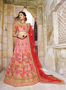 Pink Georgette Butta Work Bridal Designer Lehengas Online Buy ,Indian Dresses - 1