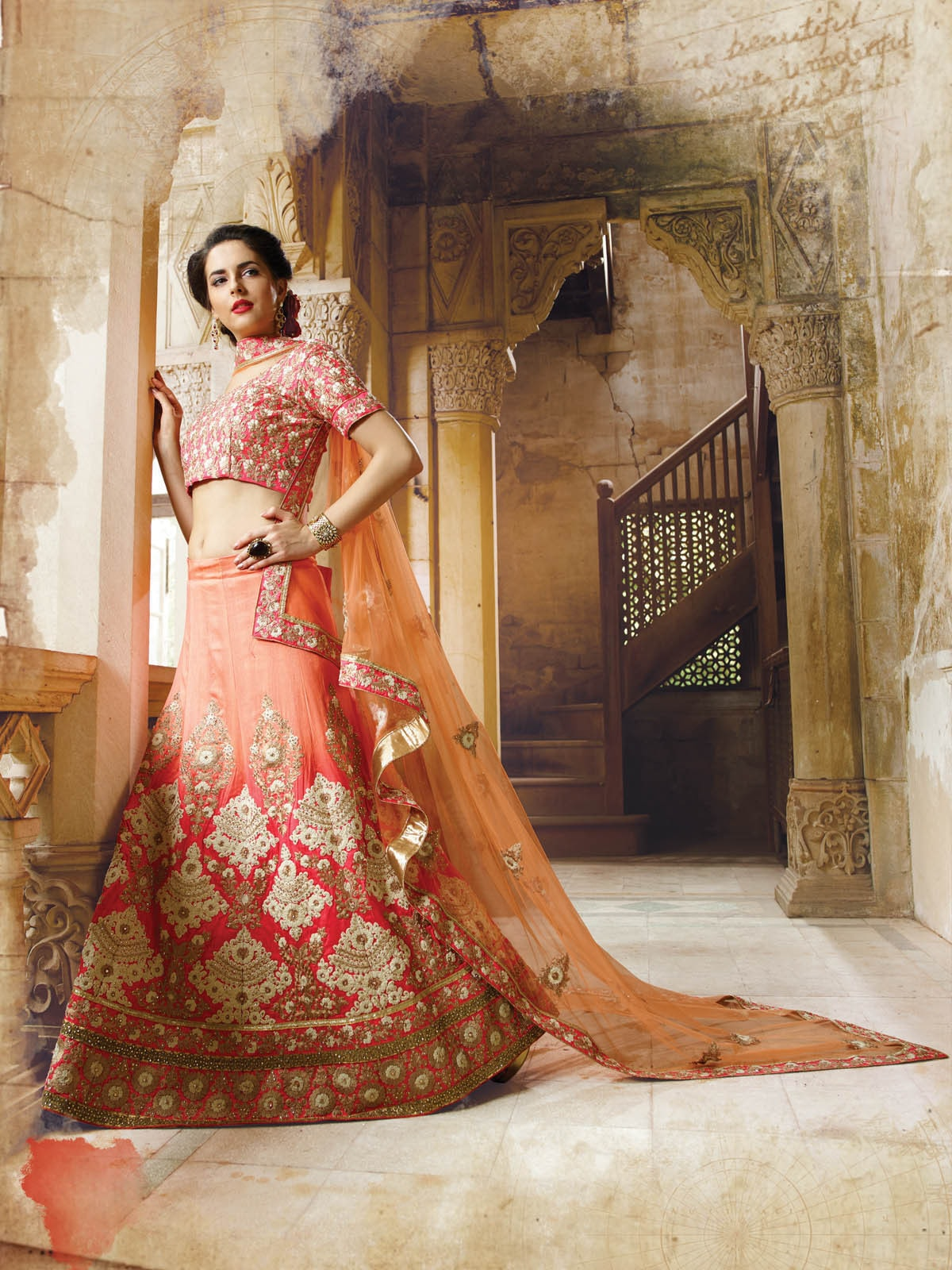 Pink Crystal Stones Bridal Lehenga Designs Online Shopping ,Indian Dresses - 2