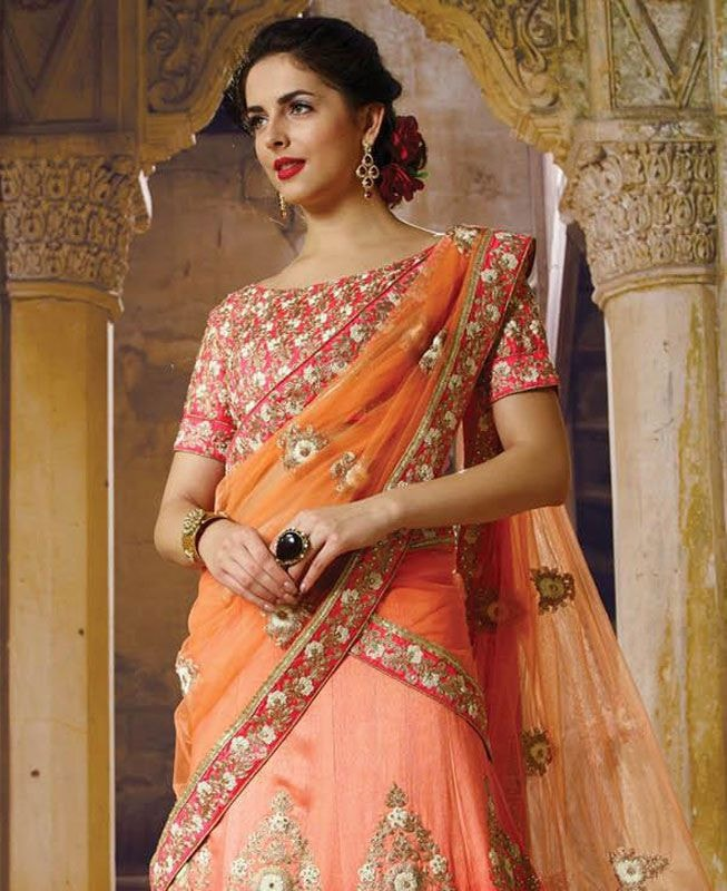 Pink Crystal Stones Bridal Lehenga Designs Online Shopping ,Indian Dresses - 3