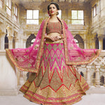 Dark Pink Lace Work Bridal Indian Lengha Design Online ,Indian Dresses - 1