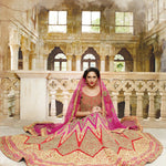 Dark Pink Lace Work Bridal Indian Lengha Design Online ,Indian Dresses - 2