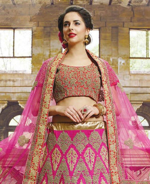 Dark Pink Lace Work Bridal Indian Lengha Design Online ,Indian Dresses - 3