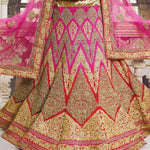 Dark Pink Lace Work Bridal Indian Lengha Design Online ,Indian Dresses - 4