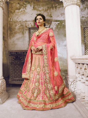 Pink A Line Bridal Buy Designer Lehengas Online Dress ,Indian Dresses - 1