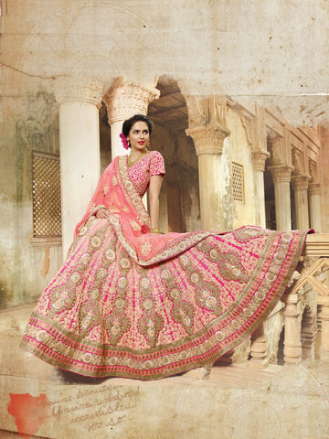 Pink A Line Bridal Buy Designer Lehengas Online Dress ,Indian Dresses - 2