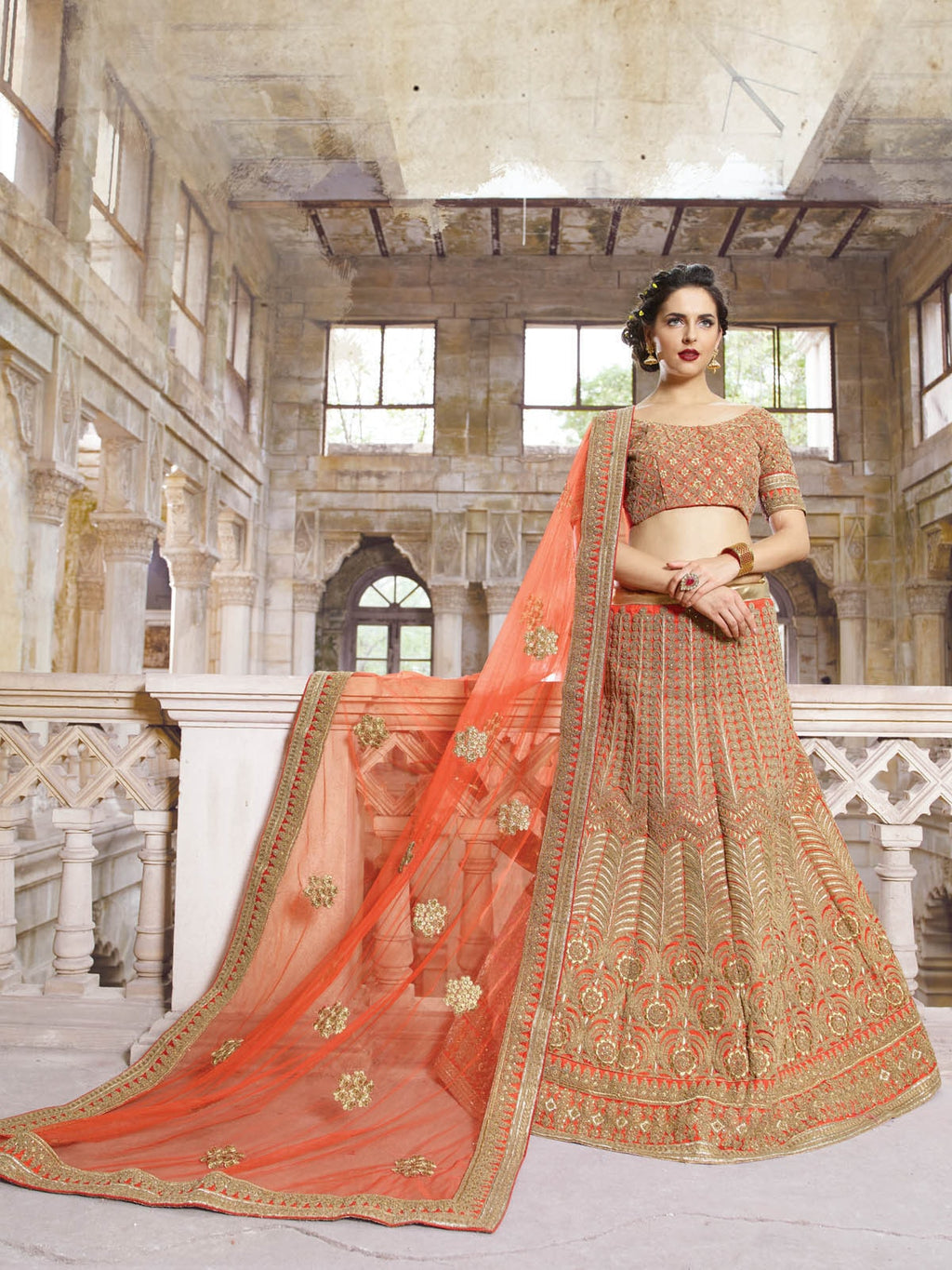 Orange Georgtte A Line Bridal Buy Lehengas Outfits ,Indian Dresses - 1