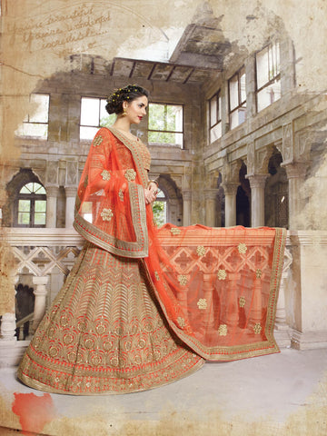 Orange Georgtte A Line Bridal Buy Lehengas Outfits ,Indian Dresses - 2