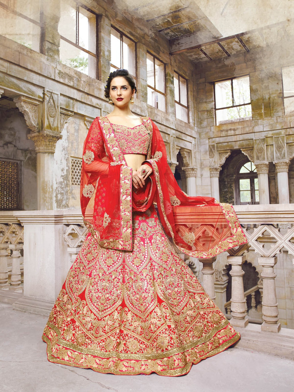Red Bridal Georgette Indian Shop Lehengas Online Dress ,Indian Dresses - 1