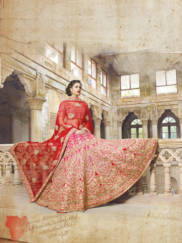 Red Bridal Georgette Indian Shop Lehengas Online Dress ,Indian Dresses - 2