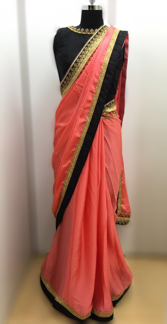 Peach Satin Chiffon Party Wear Indian Dress ,Indian Dresses - 3