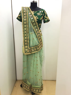 Gorgeous Green Net Saree Online Shopping India ,Indian Dresses - 5