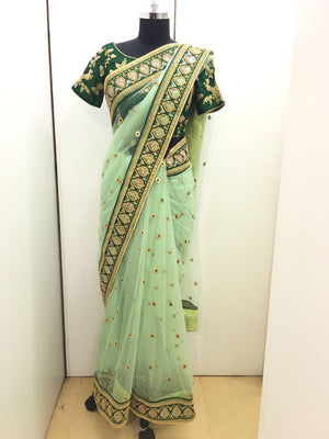 Gorgeous Green Net Saree Online Shopping India ,Indian Dresses - 6