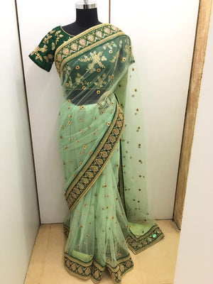 Gorgeous Green Net Saree Online Shopping India ,Indian Dresses - 4