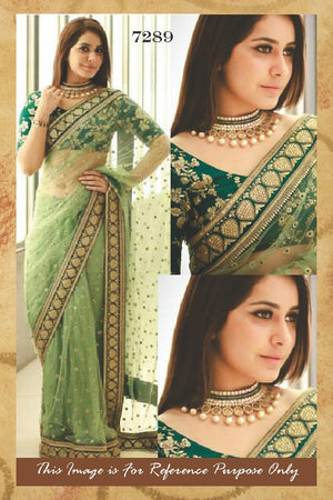 Gorgeous Green Net Saree Online Shopping India ,Indian Dresses - 7