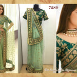 Gorgeous Green Net Saree Online Shopping India ,Indian Dresses - 1